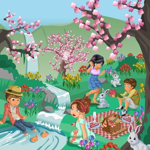 Vectorial Spring Time Illustration Friends Picnic